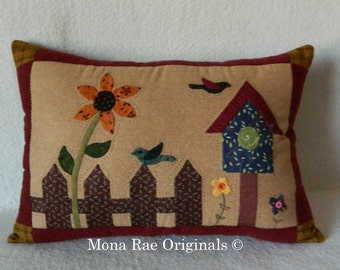 "Birdhouse Pillow ~ 15"" x 20""Birdhouse, Flowers, Birds With A Picket Fence ~ Hand Appliqued and Quilted OOAK"
