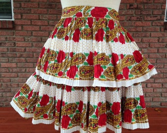 Vintage Half Apron, Dressy or formal party apron. red and green apron, Christmas hostess apron, mid-century apron, costume for 1950s play