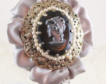 Vintage Silver Cameo Headband, Black Cameo Framed in Gold and Pearls with a Gray Satin Ruffle and Silver Embroidered Lace