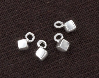 4 of 925 Sterling Silver Tiny Cube  Charms  3 mm. :th2459