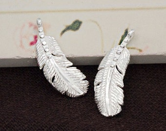 2 of 925 Sterling Silver Feather Pendants 7x18mm.  :th2481