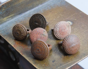 Set of 6 Antique miniature metal charms, buttons, dark patina (n33)