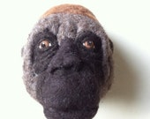 ON SALE needle felted western gorilla style faux fauna- felt factory - READY To Ship