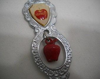 Tonasket Washington Collectible Souvenir Spoon With Red Apple