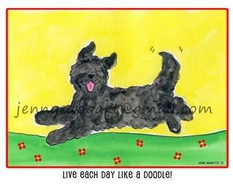 Goldendoodle labradoodle black live each day T shirt UNISEX