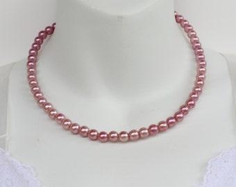 Vintage Faux Pearl Rose Pink Goldtone Filigree Clasp Princess Length Necklace