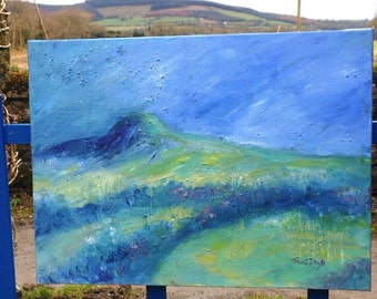 "Irish landscape  - Acrylic Ireland  ""Remembering Eagle Hill "" canvas - original Abstract art"