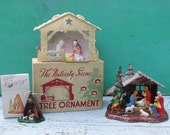 Vintage Nativity Sets - Plastic, Instant Collection, Set of Three, Christmas, (Tree Ornament)