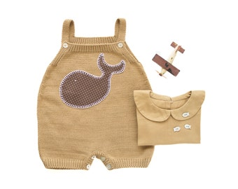 Knitted overalls in camel with a whale. 100% cotton. READY TO SHIP size 1-3 months
