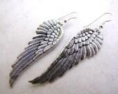 Angel Wing Earrings, Silver Wings, Wing Earrings, Angel Earrings, Faith, Christian, Spirituality, Heaven Religion