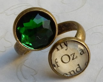 Wizard of Oz Ring, Wizard of Oz Jewelry, Oz Ring, Oz Jewelry, Emerald Oz Adjustable Ring