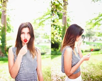 Organic cotton gingham crop top