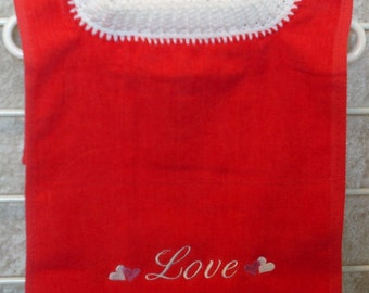 Red Embroidered Love Pullover Bib