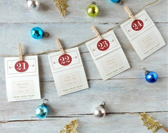 Tea Advent Calendar . 24 Festive Flavors . Christmas Countdown Kit . Handmade Numbered Tea Bags
