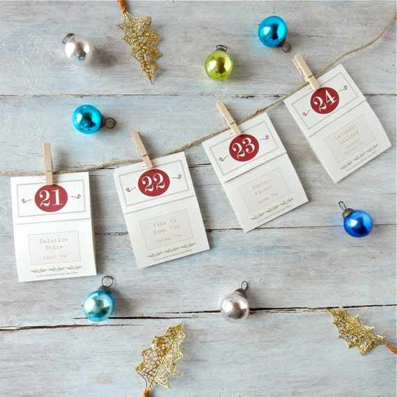 Tea Advent Calendar . 24 Festive Flavors . Christmas Countdown Kit . Handmade Numbered Tea Bags