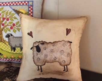 Sheep little pillow - bowl filler - hand painted - OFG - FAAP