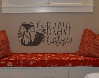 Be brave little one vinyl wall lettering sticker decal home decor cute fox silhouette KW1258