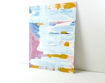 Abstract Painting, Blue Art, Mustard Accessories, Raspberry Wall Art, Canvas Painting, Original Painting, Blue and Pink Art, Nursery Decor