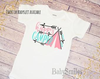 Happy Camper Hipster Shirt Camp Shirt Kids Shirt Baby Bodysuit Camp Outfit Baby Shirt Kids Tee Arrow Shirt Happy Camper Outfit Toddler Shirt