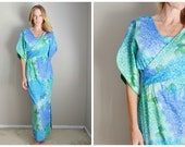 RESERVED for Christin ////// vintage 60s blue green hydranegea floral flower maxi kimono style wrap dress -- small