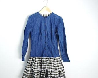 July SALE - 15% Off - Vintage 80s Denim Jean and Plaid Ruffle Tiered Peplum Long Sleeve Mini Skirt Dress // small medium