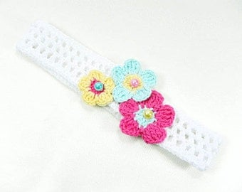 Headband, crocheted headband, baby headband, white baby headband, baby accessories,  baby girl gift, READY TO SHIP