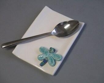 Whimsical tray, Key holder, jewelry holder, Ceramic dragon fly tray, dragon fly spoon holder, tech gift, ceramic tray, dragonfly, key holder