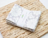 Large Cloth Napkins - Set of 4 - (N4721) - Gray Floral Modern Reusable Fabric Napkins
