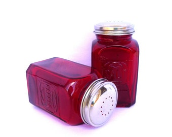 Vintage RED GLASS Salt and Pepper SHAKERS