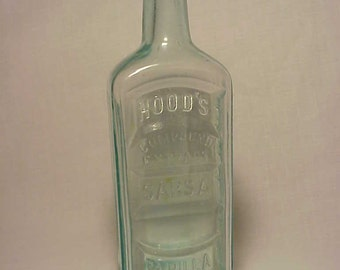 c1890s Hood's Sarsaparilla C. I. Hood Co. Lowell, Mass. , Aqua Blown Glass Medicine bottle No. 13