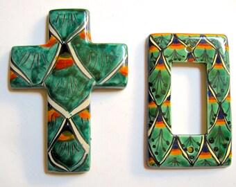 Take 20% OFF Lovely Folk Talavera Bright Matching Cross & Light Switch Tiles