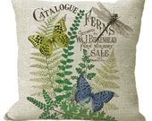 Fern Catalogue with Butterflies & Dragonfly in Choice of 14x14 16x16 18x18 20x20 22x22 24x24 26x26 inch Pillow Cover