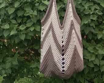 Crochet tote bag - crochet tote - crochet market bag - crochet bag - neutral color bag - grey tote - tote bag - market bag - free shipping