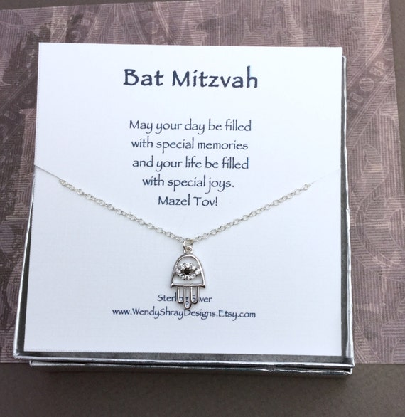 Bat Mitzvah gift or Hanukkah gift - Silver hamsa hand evil eye charm necklace with blue and clear crystals N243