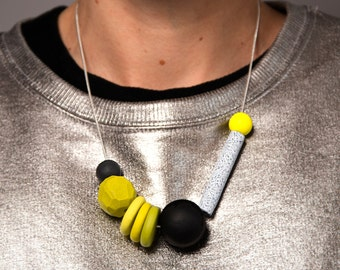 Yellow Geo Chalk Stick Polymer Necklace on Silver Plate Chain