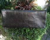 Dark Gold leather Clutch