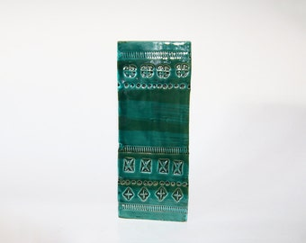 Hand Built Square Green Rimini Blu Mid-Century Vase - Aldo Londi for Bitossi