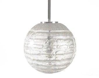 Modernist Rare Hand Blown Ice Glass Lamp Pendant -  Doria