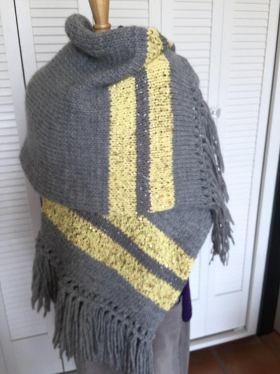 Wonderful gray Lopi yarn with lemon yellow strips on the ends