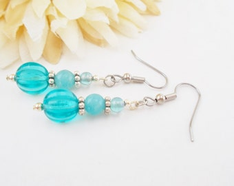 Turquoise Drop Earrings, Aqua Blue Dangle Earrings, Bohemian Blue Beaded Earrings, Bright Sky Blue Earrings, Silver and Blue Bead Jewelry