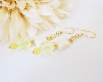 Yellow Jade Earrings, Yellow Shell Earrings, Gypsy Yellow Earrings, Light Yellow Earrings, Yellow Czech Glass Earrings. Lemon Yellow Earring