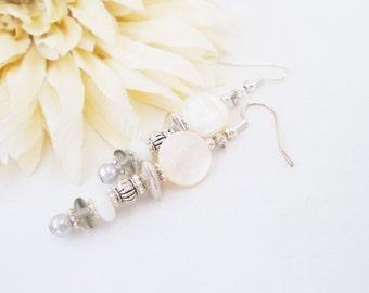 White Dangle Earrings, Mother of Pearl Earrings, Birthday Gift for Her, Bohemian Clip On Earrings, Nickel Free Earrings, Boho Jewelry