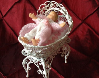 Miniature Doll Furniture White Bassinet with Baby