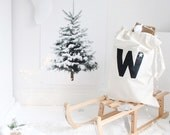 custom christmas toy sack, personalised christmas gift toy sack, natural cotton large drawstring storage bag