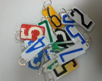 Recycled License Plate Number Key Chain