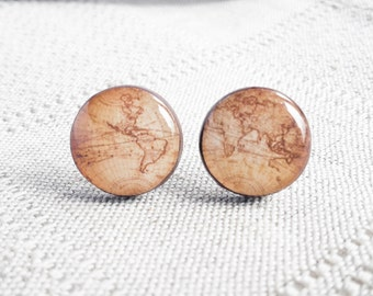 Whole Wide World- Vintage World Map Stud Earrings- Antique World Map- Nickel free stud earrings- Retro Space- Globetrotter