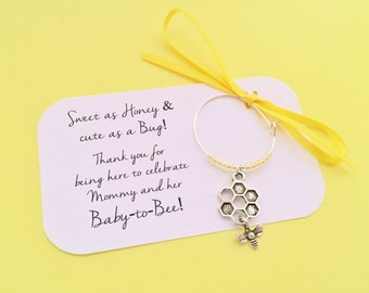 Bumble Bee Baby shower wine charm favors: 1 charm set. Mommy to Bee Favors & Party Decor. Baby to Bee. 1 to 50 favors.