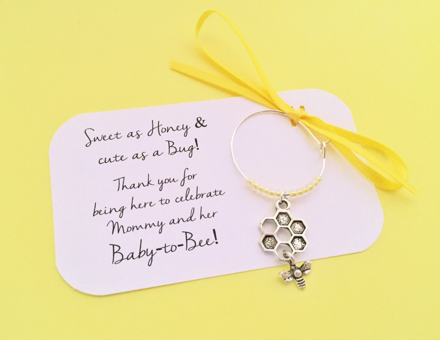 bumble bee baby shower wine charm favors 1 by winewifehappylife