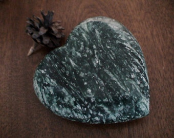 Marble Paper Weight, Coaster, Home Decor, Dark Green, Heart Shaped, One Inch Thick, Desk Accessory,