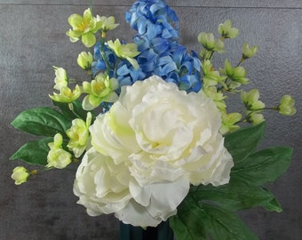 Memorial Flower Arrangement For Cemetery Decoration White Peonies Blue Hyacinth Green Blossoms Tombstone Marker Memorial Day Flowers